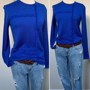 MSGM Fleece Wool Fringe Knit Sweater